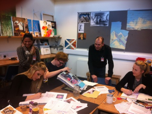 Srijana Thapa & Alan Mercel-Sanca working on Bournemouth & Poole College Nepal arts programme