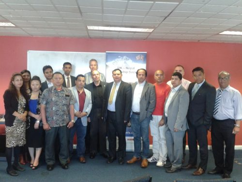 Report launch Group Photo including senior officers of the Embassy of Nepal Dr Habib Naqvi of NHS England SE London Nepali commuity leads and Professor Edwin Van Teijlingen of Bournemouth University