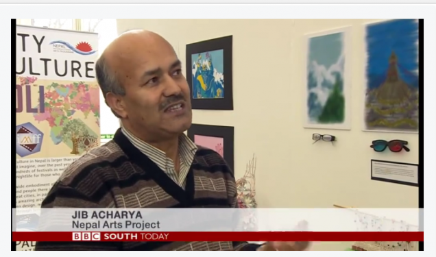 UKNFS founder member and trustee on BBC South Today news report on UKNFS Nepali arts project at Bournemouth and Poole College February 2015
