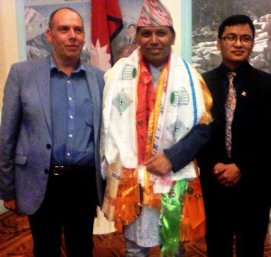 UKNFS trustee and President of the Federation of Nepali Journalists UK Naresh Khapangi Magar with Alan Mercel Sanca meeting His Excellency Dr Durga Bahadur Subedi
